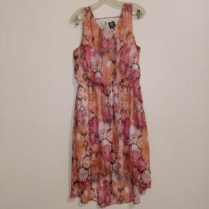 Bobeau Coral Hi-lo Sleeveless Dress L